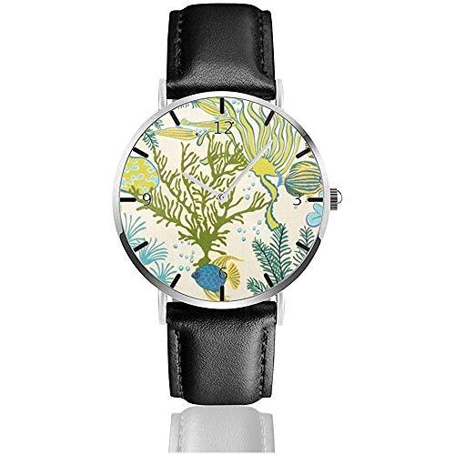Horloge Polshorloge Tropische Print Behang Bekleding Stof Blad. Klassieke Casual Quartz Zwart Lederen Band Horloge Zakelijke Horloges