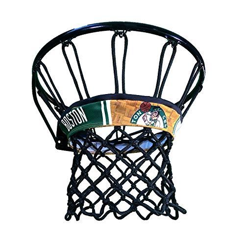 Boston Celtics NBALAB Licensed Basketball Net Featuring Netbandz Custom Designed Band (Black Net)