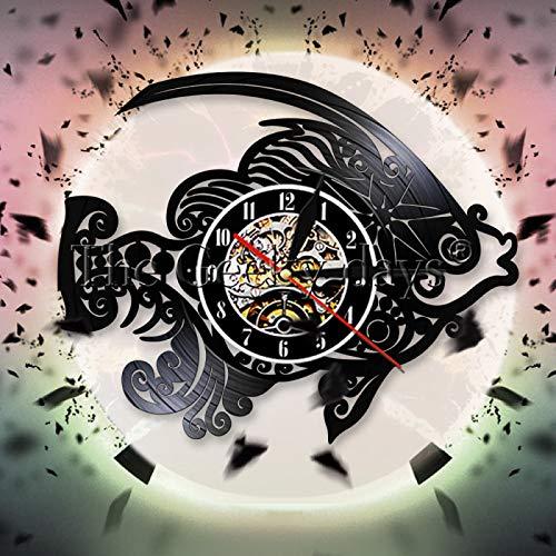 ROMK Reloj de Pared Reloj de Pared con Forma de pez, diseño Moderno, Reloj de Pared con Disco de Vinilo, pez Marino, océano,