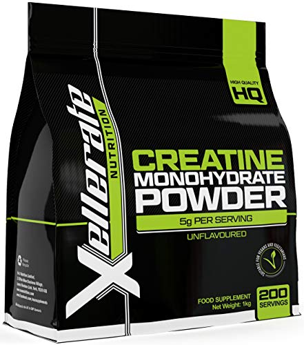 Creatine Monohydrate Powder Micronised | 1kg Equivalent to 200 Servings or 7 Month Supply | Finest Grade, Pure and Unflavoured Sports Vegetarian and Vegan Powder | Made in The UK by Nu U Nutrition