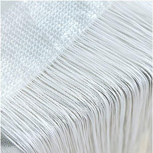 HY Door String Curtain, Wall Panel Fringe Window Room Divider Blind, Home Patio Bedroom Decorative Tassel Screen Ribbon Strings Strip Silver Thread Screen for Wedding Coffee House Home (White)