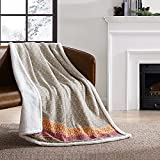 Eddie Bauer Home | Brushed Collection | Giftable Sherpa Fleece Reversible Throw, Ultra Soft & Cozy, Perfect for Bed or Couch, Fair Isle Khaki