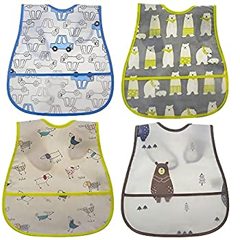 toddler bib Baby Waterproof Bib with Crumb Catcher Pocket Comfortable Soft Adjustable Snaps Feeding Bibs For Infants and Toddlers …