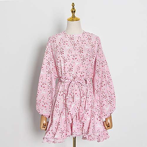 YWSZJ Vintage Print Treffer Farbe Kleid Für Frauen O Neck Laterne Langarm High Taille Schnüre Halt Bowknot Kleider Weibliche Sommer (Size : S Code)
