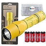 SureFire G2X Pro 600 Lumen Tactical EDC Flashlight Bundle with 2 Extra Surefire CR123A Batteries and Lightjunction Battery Case (Yellow)