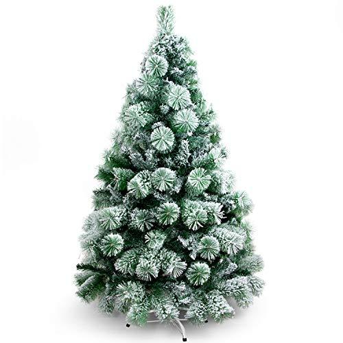 SunJas - Albero di Natale Artificiale con pigne, 120/150/180/210 cm, Punte Appuntite e Abete Artificiale con Supporto in Metallo, Albero di Natale di Alta qualità, pigne (120CM) (120CM) (NEVE 150CM)