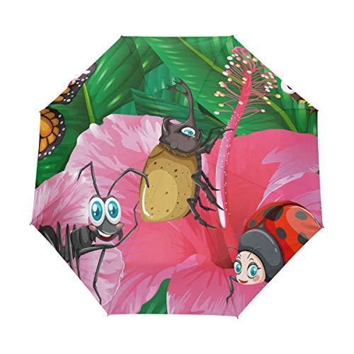Bienen Schmetterling Marienkäfer Ameisen Käfer Kompakt Reise Regenschirm Outdoor Regen Sonne Auto Faltschirm für Winddicht Verstärkter Baldachin UV-Schutz Ergonomischer Griff Auto Öffnen/Schließen