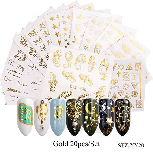 RXBGPZZJT Autocollant ongle 20pcs/Set Mixed Designs Or Argent Ongles Eau Autocollants Fleurs Étoiles Collier Sliders Nail Art Décorations Manucure TRSTZ-Y20