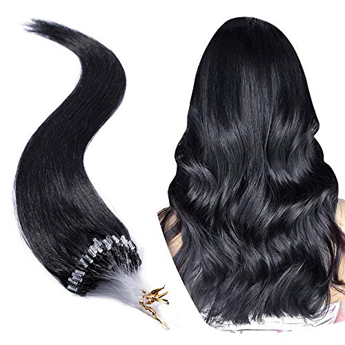 Micro Link Human Hair Extensions Micro Ring Loop Remy Hair Piece Beads Cold Fusion Stick Tipped Hair Fish Line Natural Straight Real Hair Extension For Women 22 inch 50g 100 Strands #01 Dark Black