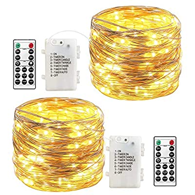 LoveNite Fairy Lights Battery Operated 120 LED Waterproof 8 Modes with Remote Control Timer 39ft Decorative String Lights for Indoor Outdoor Decor 2 Pack (Warm White)