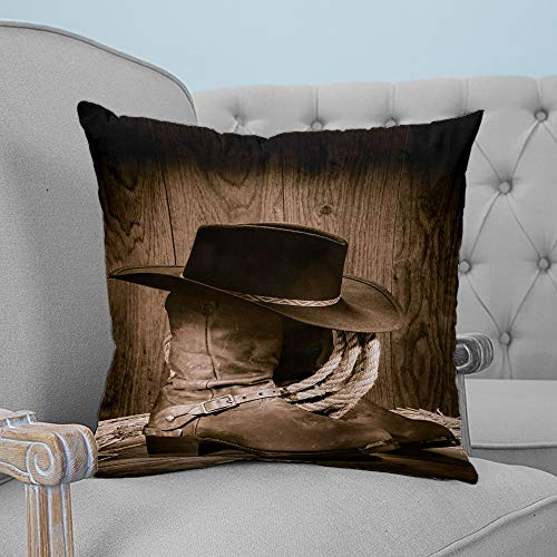 ARTSHOWING Throw Pillows for Bed Western Throw Pillow Cover Cushion Case for Sofa Wild West Themed Cowboy Hat and Old Ranching Rope On Wooden Canvas Home Decor for Couch Bedroom 20x20 inches