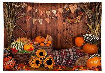 Funnytree 7x5ft Durable Fabric Fall Thanksgiving Photography Backdrop No Wrinkles Rustic Wooden Floor Barn Harvest Background Autumn Pumpkins Baby Portrait Party Decoration Photo Studio Booth Props