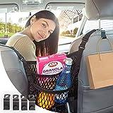 The Purse Net Purse Holder for Car   Net Car Handbag Holder w/2 Cargo Storage Pockets   Car Net Pocket Handbag Holder w/4 Grocery Bag Headrest Hooks   Car Purse Holder for between Seats Organization