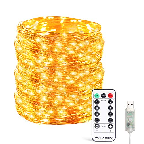 CYLAPEX Copper Wire Led Starry String Lights 66ft 200 LEDs Waterproof USB Powered Fairy Lights with 8 Modes Remote Control Ambiance Lighting for Christmas Bedroom Wedding Patio (Warm White)