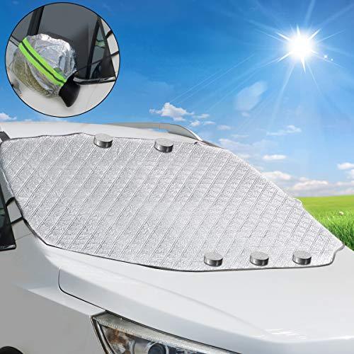 TBoonor Windschutzscheibenabdeckung Frontscheibenabdeckung Auto Autoscheibenabdeckung Windschutzscheibe Abdeckung Magnet Fixierung Faltbare Plane Abdeckung für Frontscheibe Sonnenschutz Schneeschutz