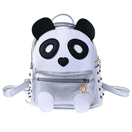 ZZALLL Frauen Teenager Mädchen Panda Büchertasche Niet Rucksack Mini Casual Cartoon Rucksack