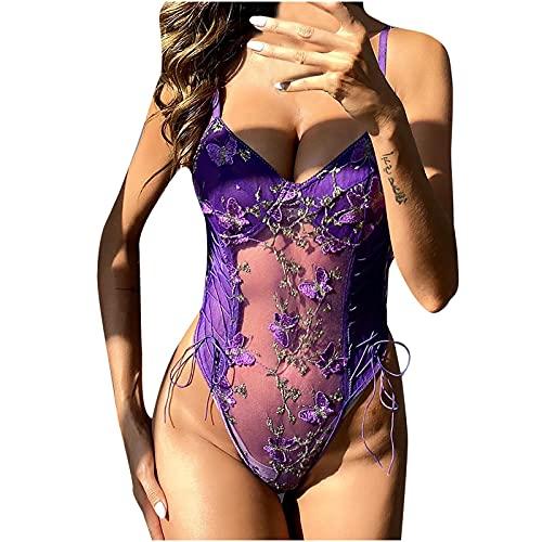 Women Sexy Lingerie Sets Bodysuit Lace Babydoll, One Piece Body Tie with Mesh Embroidery Jumpsuit Underwear Uniform