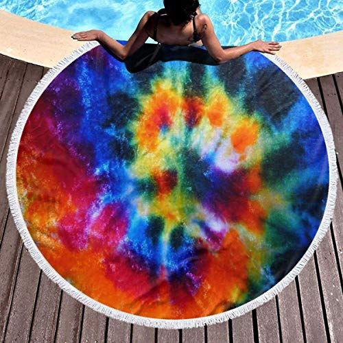 Manta de toalla de playa redonda de vórtice de colores oscuros Manta de microfibra Terry Yoga Mat Toalla de playa suave Roundie Circle 59 pulgadas Alfombra de picnic