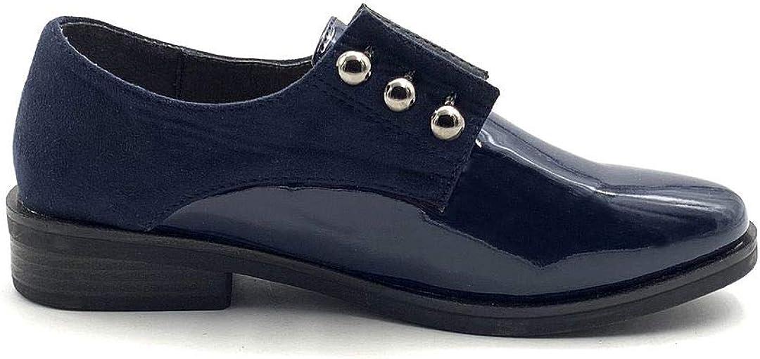 Chaussure Mode Derbies Oxford BCBG /él/égant Femme Verni Perle Talon Bloc Angkorly
