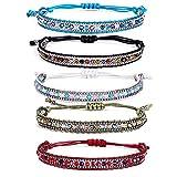 Rimobul Boho Rope Bead Bracelets - 5 Pack