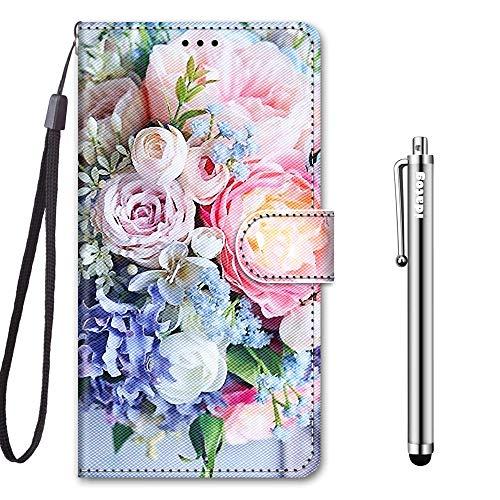 idatog für Xiaomi Redmi 6A Hülle, PU Leder Flip Klappbar Lederhülle Schutzhülle des Bunt Muster Wallet Cover Flip Hülle Handyhülle mit Magnetverschluss Kartenfach Tasche Etui (Blume 3)
