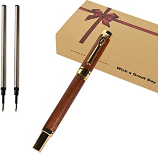 iMeaniy Nice Wooden Ballpoint Pen Gift Set-Elegant Fancy Writing Pen for Men Women Graduation Business Signature Executive Christmas Gift,Luxury Pen with Gift Box,2 Extra 0.5mm Refills,Black Gel Ink