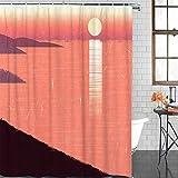 XZLWW Sea Sunset Reflection Contracted Red Gradient Fabric Tejido de baño Baño Cortina de baño con Ganchos 200x200CM A