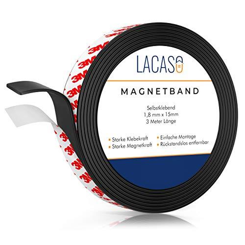 Lacaso Magnetband [3M] stark selbstklebend I Magnetklebeband I Universal Magnetstreifen Individuell Zuschneidbar I Ideal für Schule, Arbeit und Werkstatt I Verbesserte Version 2021