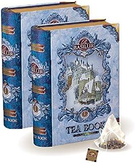 Basilur | Vol 1 Mini Tea Books in Metal Caddy | Pyramid Tea Bags | 100% Pure Ceylon Tea | 5 Luxury Leaf Pyramid Sachets Pe...