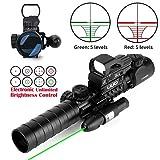UUQ 3-9X32EG Tactical Rifle Scope Illuminated Red & Green Range Finder Reticle W/Reflex