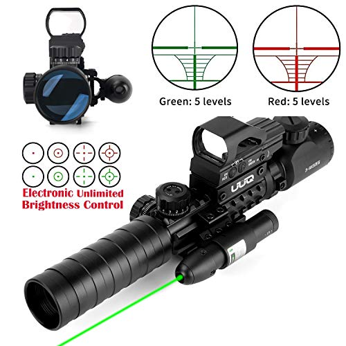 UUQ 3-9X32EG Tactical Rifle Scope Illuminated Red & Green Range Finder Reticle W/Reflex Sight & Green Laser Sight