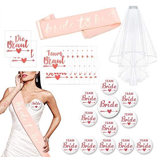 HOWAF JGA Accessori decorativi per addio al nubilato, accessori per donne, matrimoni, velo bianco, 12 bottoni JGA Buttons, 16 tatuaggi JGA per la sposa, la squadra della sposa