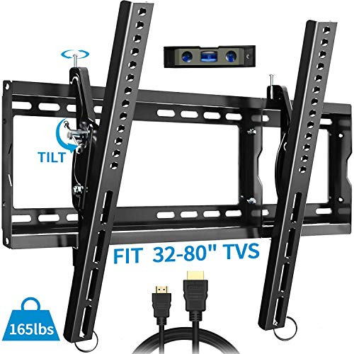 Everstone 15°Tilt 32-80 inch TV Wall Mount Bracket Arm with Lag Bolts,VESA MAX 600 x 400,load MAX 165lbs, Fit 16', 18', 24' Studs, Low Profile Universal for Flat Screen, OLED, LED, Curved TVs