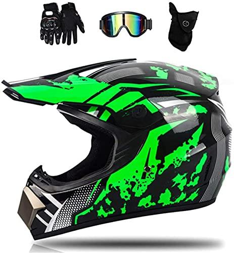 Motocross-Helm, Kinder Erwachsene Schwarz Grün Fullface Motorrad Crosshelm Set mit Visier Brille Handschuhe Maske,Fahrrad Enduro Downhill BMX Off Road ATV Motocross Helm Set (XL)