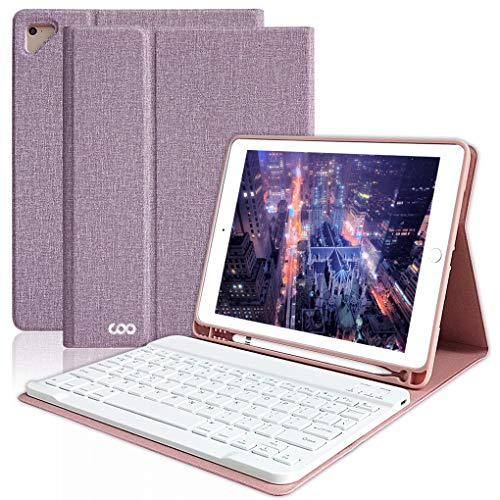 iPad Keyboard Case 6th Gen for 9.7 iPad Pro 2018 2017 (5th Gen), iPad Air 2 Air, Wireless Bluetooth Detachable Protective Cover with Pencil Holder, Smart Auto Sleep-Wake (Purple)