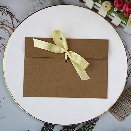 Sxgyubt Kraftpapier-Umschläge mit Schleife für Hochzeitseinladungen, Grußkarten, 50 Stück One Kraft-Umschlag + gelbes Band