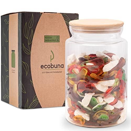 ECOBUNA® 2,5 Liter Vorratsglas mit Holzdeckel – extra großes Aufbewahrungsglas - Dekoglas – Windlicht - Vase – Keksglas - Kaffeedose - Müslibehälter - Glasbehälter mit Deckel