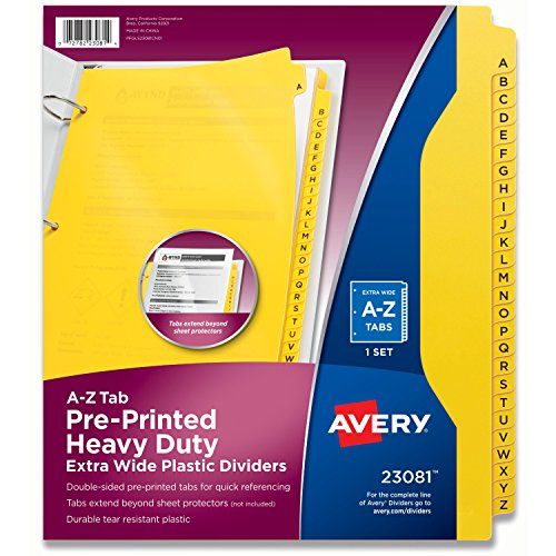 Avery Heavy-Duty Plastic Industrial Dividers, 26 A-Z Tabs, Yellow (23081),11.05 x 9.05 x 0.3 inches