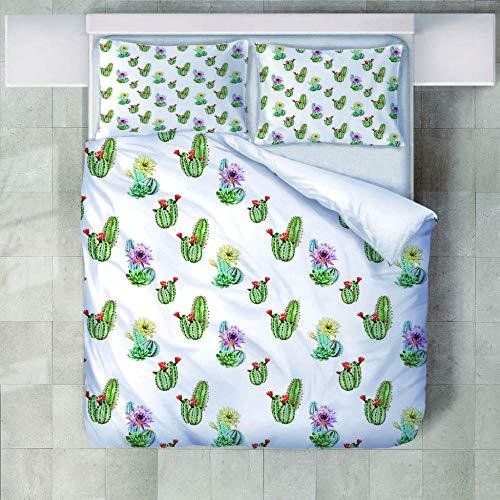 yzrose Bettwäsche Bettbezug Frisches weißes grünes modernes Kaktus-Polyester-Bettbezug-Blatt-Deckbett-Bettwäschesatz-140x200