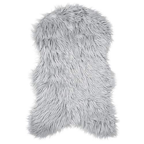 Pure Label Schaffell- Lammfell- Kunstfell Teppich für Wohn und Schlafzimmer. Als Deko Faux Fell auf dem Sofa/Stuhl oder als Bett-Vorleger (Grau/Silber - 55 x 90 cm)