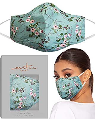 Heather Floral Mask by VIRTUE CODE Fabric Face Masks Flower Design by VIRTUE CODE