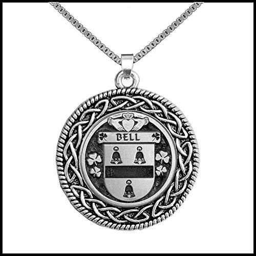 Bell Irish Coat of Arms Celtic Interlace Disk Pendant