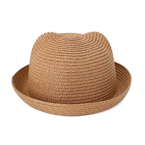GOOTRADES Moderne Strohhüte Kinder Charakter Ohr Dekoration Sommer Kappe Baby Sonnenhut für Mädchen Jungen Solide Eimer Kappe für Kinder Strand Hut