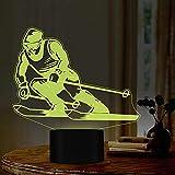 Jugador De Esquí 3D 7 Colores LED Nightlight Mesita De Noche Lámpara De Mesa 3D Novedad USB Lámpara De Sueño Cumpleaños Regalos De Navidad Trofeo