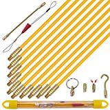 KOOTANS 11 ft Fiberglass Wire Running Kit Wall Cable Wire Fishing Rod Pull Push Tool Electrical Fish Tape Set with 6 Different Accessories