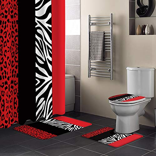 Aomike 4 Piece Shower Curtain Sets Zebra Leopard Pattern Red Black Modern Abstract Art Include Non-Slip Rug, Toilet Lid Cover, Bath Mat and Shower Curtain Waterproof with 12 Hooks for Bathroom