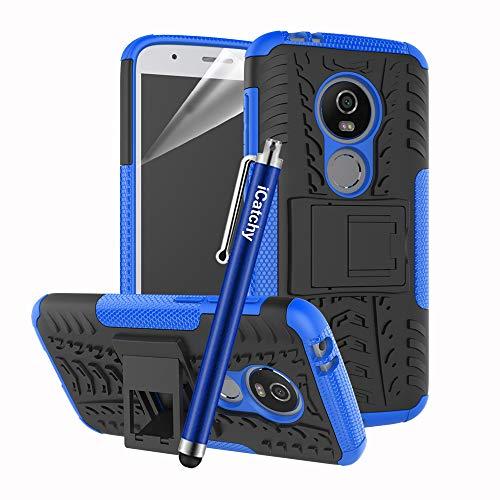 iCatchy Para Moto E5 Play Case, Heavy Duty Armour Tough Hybrid Shock Proof Cover (Azul)