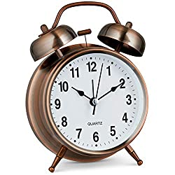 Bernhard Products Analog Alarm Clock Twin Bell Retro Copper Metal 4 Extra Loud Quartz Battery Operated with Backlight for Bedside Table Vintage Silent Non-Ticking Old fashioned Decorative Desk Clocks