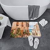 Alfombrilla de Baño Antideslizantes de 60X100 cm,Wanderlust Set, Casco antiguo medieval en To,Tapete para el Piso Lavable a Máquina con Microfibras Suaves Absorbentes de Agua para Bañera, Ducha y Baño