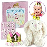 Everybunny's a Princess on Her Birthday Gift Set includes a Storybook, Plush Bunny, and Gold Glitter Crown with Number Stickers 1-9. The set will bring cherished memories each birthday year as you change the number on the crown for photos and milesto...
